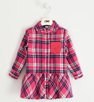 Camicia bambina in flanella leggera 100% cotone tinto filo a quadri ido MAGENTA-2681