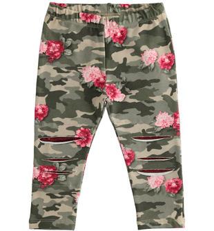 Leggings in jersey fantasia camouflage con inserti di paillettes ido VERDE-ROSA-6NU6