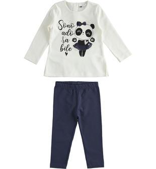Completo due pezzi bambina in cotone con t-shirt a manica lunga con panda ido PANNA-0112