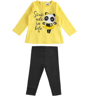 Completo due pezzi bambina in cotone con t-shirt a manica lunga con panda ido GIALLO-1611