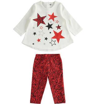 Completo maxi maglia con stelle e leggings ido PANNA-0112