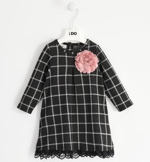 Abito bambina a manica lunga in maglia jacquard pied de poule ido PANNA-NERO-8346
