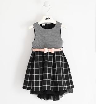 Raffinato ed elegante abito bambina modello scamiciata ido NERO-0658