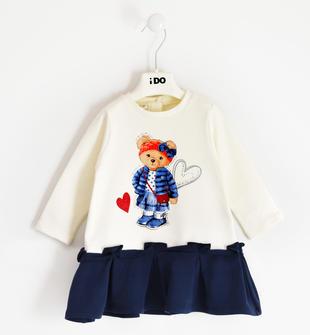 Abito bambina a manica lunga in pratica felpa invernale stretch ido PANNA-0112