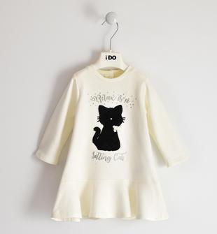 Pratico vestito bambina in felpa stretch di cotone con ricamo gatto ido PANNA-0112