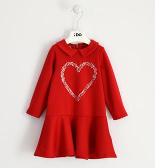 Abito bambina in punto milano con cuore di strass ido ROSSO-2253