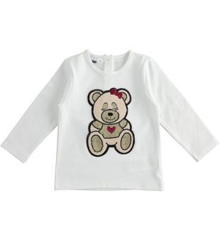 Maglietta girocollo bambina a manica lunga in cotone stretch con orsetto ido PANNA-0112