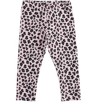 Pratico leggings bambina in cotone stretch con fantasia animalier ido ROSA-NERO-6NT1