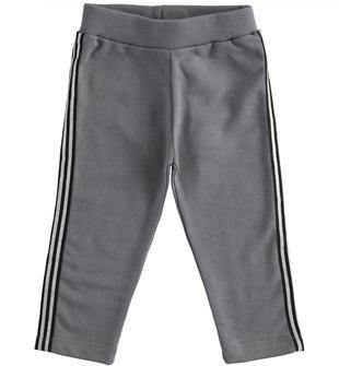 Pantalone in felpa con bande laterali lurex ido GRIGIO SCURO-0564