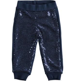 Pantalone bambina in cotone invernale con paillettes ido NAVY-3854