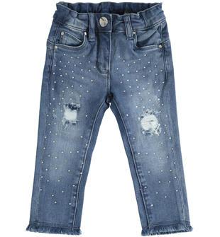 Pantalone in denim con strass ido STONE WASHED-7450