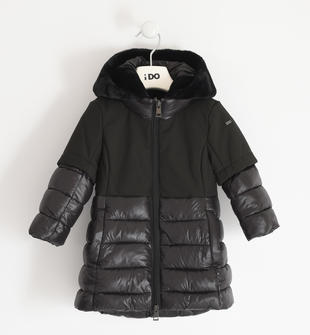 Giubbotto invernale per bambina in nylon e tessuto tecnico ido NERO-0658