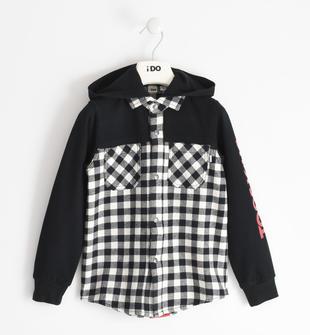 Camicia bambino in tessuto 100% cotone con maniche in felpa ido PANNA-0112