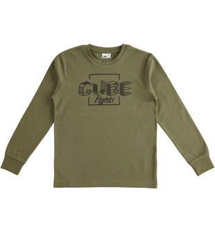 Maglietta girocollo a manica lunga in interlock 100% cotone ido VERDE MILITARE-5557