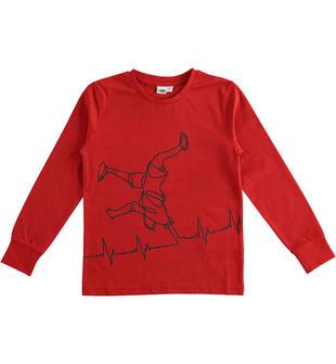 Maglietta in jersey 100% cotone multi grafica ido ROSSO-2253