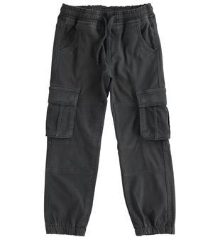 Pantalone modello cargo in twill di cotone ido NERO-0658