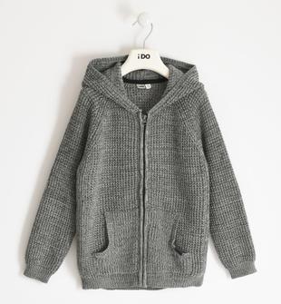 Full zip in tricot con cappuccio ido GRIGIO MELANGE-8970