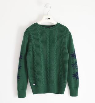 Maglia girocollo in tricot con lavorazione a treccia ido VERDE-4726