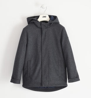 Giubbotto bambino in tessuto misto lana con cappuccio fisso ido NAVY-3885
