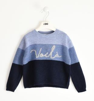 Maglia tricot invernale bambina con inserto bicolor ido NAVY-3854