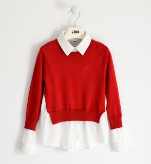 Maglia tricot con inserti effetto camicia ido ROSSO-2253