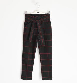 Pantalone bambina in navetta misto viscosa tinto filo a quadri ido NERO-0658