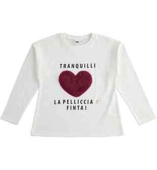 Maxi maglietta 100% cotone con cuore ido PANNA-0112