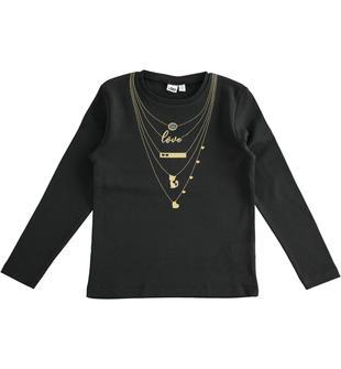 T-shirt bambina a manica lunga in interlock 100% cotone ido NERO-0658