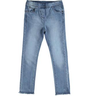 Pantalone bambina in denim di cotone super stretch ido STONE WASHED-7450