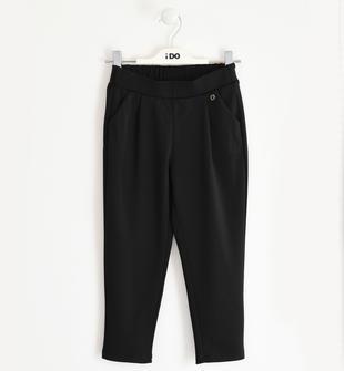 Pantalone bambina in punto milano modello carrot fit ido NERO-0658