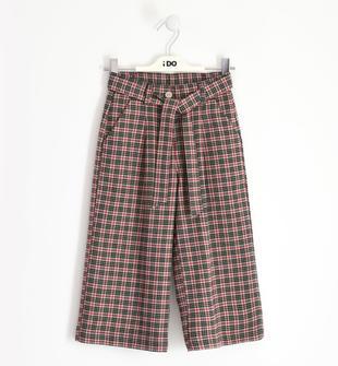 Pantalone bambina modello cropped in tweed motivo checked ido BEIGE-0941