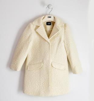 Elegante e comodo cappotto bambina in tessuto effetto bouclè ido PANNA-0112