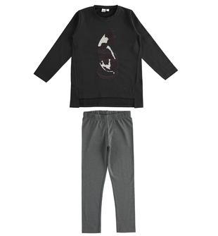 Completo maxi maglietta con paillettes reversibili e leggings ido NERO-0658