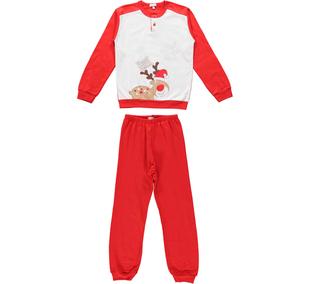 Pigiama per bambini con renna natalizia ido ROSSO-2253