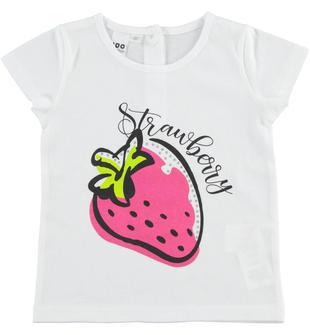 Allegra t-shirt 100% cotone ido BIANCO-FUXIA-8043