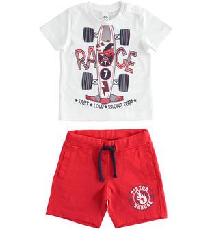 Pratico completo t-shirt e pantalone corto 100% cotone ido BIANCO-ROSSO-8025
