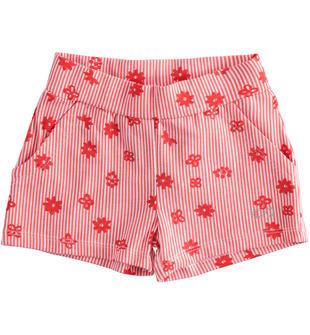Pantalone corto in jersey stretch con grafica estiva ido BIANCO-ROSSO-6LZ9