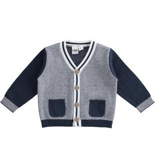 Elegante cardigan in tricot 100% cotone ido NAVY-3885