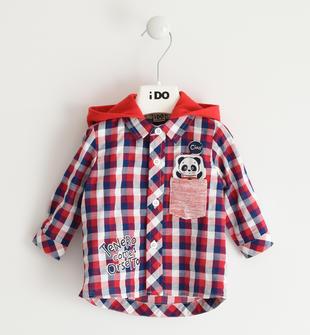 Camicia a quadri 100% cotone con panda ido ROSSO-2256