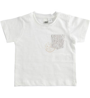 T-shirt 100% cotone con taschino rigato ido BIANCO-0113