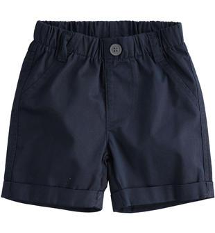 Pantalone corto in twill 100% cotone tinta unita ido NAVY-3885