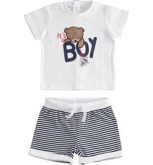 Completo 100% cotone t-shirt con orsetto e pantaloncino corto ido BIANCO-BLU-8020