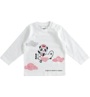Maglietta girocollo 100% cotone con panda aviatore ido BIANCO-0113
