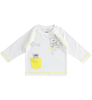 Maglietta girocollo 100% cotone con numeri e orsetto ido BIANCO-0113