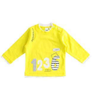 Maglietta girocollo 100% cotone con numeri ido GIALLO-1434