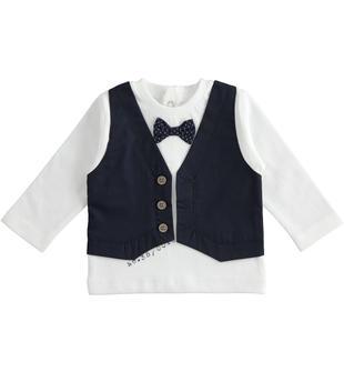 Maglietta 100% cotone con finto gilet in twill ido BIANCO-0113