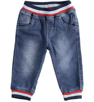 Pantalone in denim maglia con elastico rigato ido STONE WASHED-7450