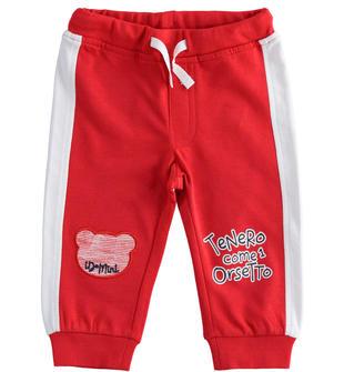 Pantalone in felpa leggera con orsetto e banda laterale ido ROSSO-2256