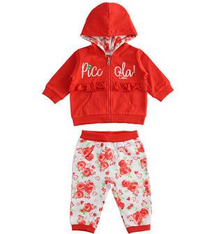 Tuta due pezzi in jersey stretch fantasia floreale ido ROSSO-BIANCO-8029