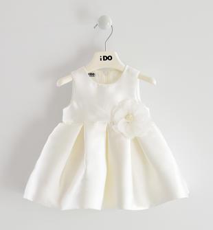 Elegante abito in raso sposa con fiore in organza ido PANNA-0112